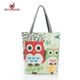 Wholesale Large Owl Tote Bags - Wholesale-Floral And Owl Printed Canvas Tote Female Casual Beach Bags Large Capacity Women Single Shopping Bag Daily Use Canvas Handbags