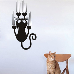 Wholesale Sticker Light For Car Window - Funny Climbing Cat Wall Decals Vehicle Body Window Vinyl Wall Sticker Strong Adhesive Car Decal Cute Home Decor