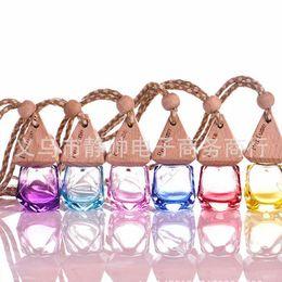 Wholesale Essence Perfume - 6 ml Mixed color Car hang decoration glass essence oil Perfume bottle Hang rope empty bottle