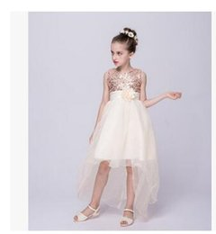Wholesale Trailing Flowers - Wholesale Elegant Noble Baby Girl Cute Asymmetric Lace Rose Solid Mesh Long Tail Flower Girl Dress Sequins Tutu Wedding Party Trailing Ball