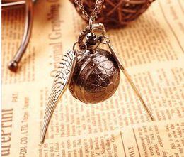 Wholesale Cheap Vintage Pocket Watches - New Fashion Vintage Bronze Punk Steampunk Quartz Pocket Watch Harry potter Pendant Chain Necklace Clock 10pcs lot cheap