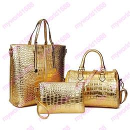 Wholesale Handbag Crocodile Skin - hot selling shoulder bags High quality crocodile skin pattern pu leather tote bags handbags purses set fashion woman handbag