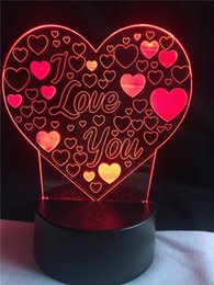 Wholesale Star Shaped Candles - Heart Shape LED Night Light I Love You Romantic Atmosphere Lamp Home Decor Nightlight Lovers Gift