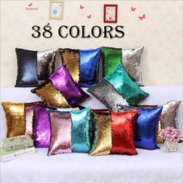 Wholesale Wholesale Embroidered - Sequin Pillow Case Reversible Sequin Mermaid Glitter Sofa Cushion Cover Pillow Case Double Color Pillowslip Case cover 40*40cm YYA597