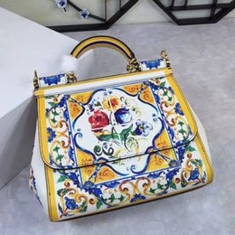 Wholesale Lemon Yellow Handbags - Color lemon banana leaves Rome imperial porcelain shoulder messenger bag printing leather handbag