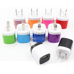 Wholesale For Iphone S wall charger Travel Adapter Full V A Colorful Home Plug USB Charger For Samsung S6 S6 EDGE Note USA Version EU Version DHL