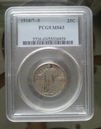 Wholesale Pcgs Box - HOT SELLING PCGS 1918-S MS63 Standing Liberty Quarter Dollar coin FREE SHIPPING
