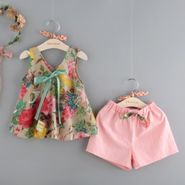Wholesale Purple V Neck - Korean new styles Hot selling girl Summer 2 pieces set little flower printed vest+ shorts clothing girls Cotton sets 3-8T