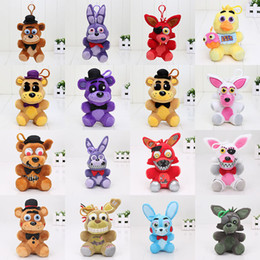 Wholesale Dolls Toys Keychain - 16pcs Plush pendant 14cm FNAF Five Nights At Freddy's 4 pendant plush toys doll Nightmare Fredbear Golden Freddy keychain