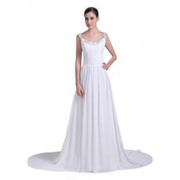 Wholesale Dropshipping Garden - 2017 Latest Fashion Beaded Spaghetti Straps White Chiffon Bridal Dress Sweep Train Dropshipping A-Line Wedding Gown