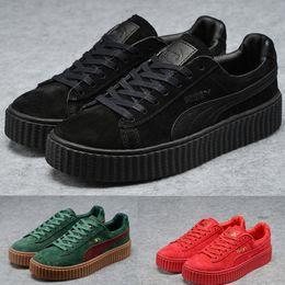 Wholesale Camo Golf Shoes - 2017 Puma Rihanna x Suede Creeper Camo Women Men Running Shoes, Fashion Pumas Rihanna shoes sneakers Skater Shoes size 36-44 for sale