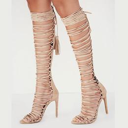 Bottes de cheville femmes en Ligne-NOUVELLE été genou haute bottes sexy talons hauts lacets couverture talon cheville sangle plus la taille sandales gladiateur femme chaussures décontractées pour les femmes