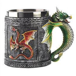 Wholesale dragon spoon - Wholesale- Free Shipping 3D Dragon Mug Faucet Cup Double Wall Stainless Steel Canecas Coffee Cup Mug Novelty Medieval (00353)