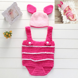 Wholesale Newborn Crochet Hats Sets - Baby Photography Props Newborn Boy and Girl Crochet Outfit Infant Coming Home Photo Doll Accessories Cute Pig Set Costume Baby Hat BP042