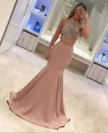 high neck sleeveless evening dresses Australia - 2017 Sexy Two Pieces Formal Gowns Evening Prom Dresses Beaded Mermaid High Neck Sleeveless 2017 Crystal Party Evening Gowns