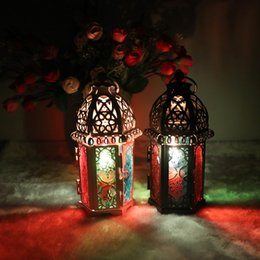 Wholesale Wedding Lanterns Candle Holder - Classic Moroccan Style Candle Holder 8.3*7.2*16.5CM Votive Iron Glass Candlestick Candle Lantern Home Wedding Decoration