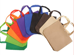 Wholesale Custom Recycle Bags - Wholesale- 2016 Wholesale 500pcs lot 3 Sizes10 Colors Custom Printing logo Recycle Non Woven Shopping Bags with Snap Free Shipping