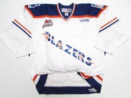 Wholesale White Blazer Cheap - Cheap custom KAMLOOPS BLAZERS WHL AUTHENTIC WHITE PRO CCM HOCKEY JERSEY Mens Throwback jerseys
