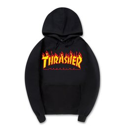 Wholesale Clear Fire - Trasher Skateboard Magazine Fire Hoodie Men Black Gray 100% Cotton Fashion Streetwear Skate Hoodie Sweatshirts