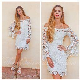 Wholesale Champagne Wedding Reception Dresses - Bell Sleeves Crochet Lace Boho Hippie Wedding Dress Off shoulder Vintage Inspired 70s Style Short Reception Wedding Dresses 2017