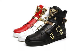 Wholesale Sneakers Belts - 2017 Winter New Arrival Fashion Medusa Luxury Men Shoes Black Red White Real Leather High-top Belt Buckle Casual Shoes Famous Brand Sneakers