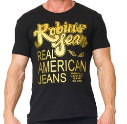 Wholesale Organic Mens Shirts - Mens Robin T Shirts High Quality American Jeans T-Shirt For Men Cotton Summer T-Shirts Tees Robin Jeans Clothing M-3X