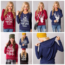Wholesale Christmas Outwear - Christmas Jackets Letter Hoodies Women Casual Coat Long Sleeve Sweatshirts Hot Blouses Pullover Outwear Jumper 7 Styles OOA3034