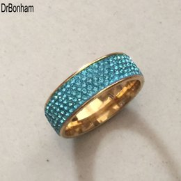 Wholesale Rowing Girl - Full 5 Row blue crystal diamond Jewelry Wholesale Stainless Steel gold filled Wedding Rings for women girls