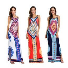 Wholesale China Print Dress - free shipping wholesale goods made in china chic style spaghetti strap backless split summer maxi long casual dresses