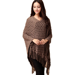 Wholesale Women Batwing Cardigan Sweaters - Wholesale-Women Tassels Hem Batwing Sleeve Shawl Cape Poncho Knit Cardigan Sweater Coat
