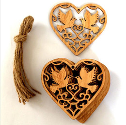 Wholesale Bird Christmas Ornaments - 20pcs Wooden Hollow Love Bird Pendant Ornament Beads For Table Ornaments Wedding Decoration Photography Props