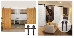 Wholesale Barn Sliding Door Track - Rustic Black Sliding Barn Door Hardware Modern Double Barn Wood Door Hanging Track Kit hardware fittings