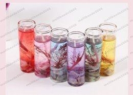 Wholesale Ocean Candles - Glass Bottles Ocean Gel Wax Candles Wedding Banquet Candle Celebration Pink Blue Candle Decorate Birthday Candles 6 colors MYY