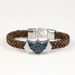 Wholesale Legend Zelda Accessories - Wholesale- 2015 New Fashion Leather Bracelet Bangle Men Woven bracelet Jewelry Legend of Zelda Logo Cuff Bracelet Accessories