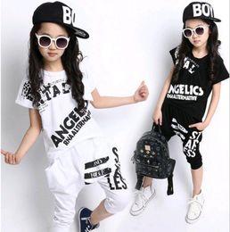 Wholesale Hiphop Girl Short - Korean Children Wear Clothing Set New 2017 Summer Kids Hiphop Street dance Letter 2pcs Suit T-shirt + Harem pants for Boys and Girls