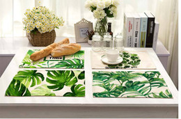 Wholesale wholesale bowls bamboo - Green Leaves Pattern Cotton Linen Western Pad Placemat 42x32cm Dining Table Mat Bowls Coasters Kitchen Accessories