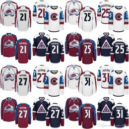 Wholesale Peter Forsberg Jersey - 2017 Men's Colorado Avalanche Jersey 21 Peter Forsberg 25 Mikhail Grigorenko 27 Andreas Martinsen 31 Pickard Ice Hockey Jerseys stitched