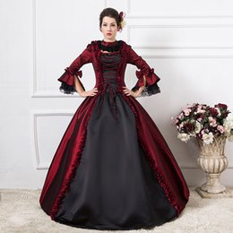 Wholesale Medieval Wine - New Arrival Wine Red Vampire Queen Medieval Dress Gothic Victorian Period Ball Gown Women Halloween Party Costume