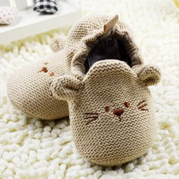 Wholesale Knitted Crib Shoes Girls - Wholesale- 0-18M Newborn Toddler Knit Shoes Boys Girls Cute Mouse Crib Shoes Cartoon Bootee First Walker