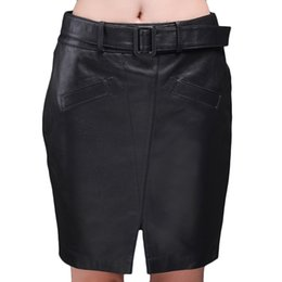 Wholesale Buttocks Belt - 2017 New Jiashibao free shipping women pure sheep leather skirt high waist Package buttock Belt skirt slim fit