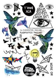 Wholesale Lips Tattoos Sticker Glitter - A6080-209 Black tatuagem Taty Body Art Temporary Tattoo Sticker Gradient Colorful Birds Eye Shark Glitter Tatoo Sticker