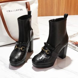 00225649314a Tassel Fringe High Platform Desert Boots Female Genuine leather Fashion  Designer Womens Military Boots