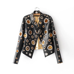 Wholesale Genuine Leopard Fur Coats - High Quality Gold Silver Hollow Out Female Jacket 2017 Fashion Women Leather Jacket Rivet Motorcycle Jackets Coats Short Black