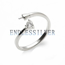 Wholesale Base Blank - Ring Settings Blank Base Zircon One Stone 925 Sterling Silver DIY Jewellery Findings Pearl Mounting for Pearl Party