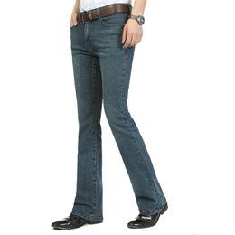 Jeans sottili tagliati mens online-All'ingrosso-Casual Uomo Jeans Bott Bottom Jeans blu metà vita Slim Fit Boot Cut semi-svasato Flare Leg Denim Pants Plus Size For Male