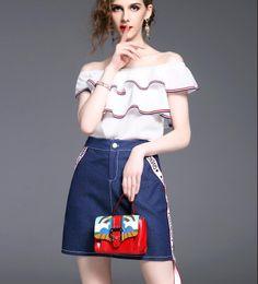 Wholesale Striped Pocket Shirt - Summer Women Fashion Two Piece Sets Ladies Elegant White Ruffles T Shirts Short-Sleeved Blouses + Girls Blue Denim Skirts One-step Skirts
