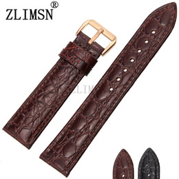 Wholesale Crocodile Watchband - Wholesale- ZLIMSN 14mm Genuine Leather Watchbands Thin Crocodile Pattern Watch Band Stainless Steel Clasp Relojes Hombre 2016
