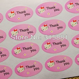 Wholesale Muffin Cookies - Pink hello kitty thank you stickers for home made cakes,muffins,cookies,chocolates,gift stickers