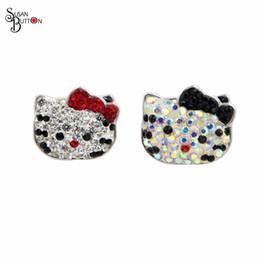Wholesale Rhinestone Tie Bracelet - 10pcs Rhinestone Black Cat Bow Tie Interchangeable Snap Button Charms 18mm Snap Susan Button for Snap Button bracelet Jewelry SB419