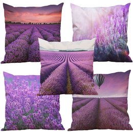 Wholesale Sofa Cushions Covers Material - Lavender Pattern Rayon Material Looks Like Silk Feeling Linen Cushion Cover Home Office Sofa Square Pillow Case Decorative Cushion Covers